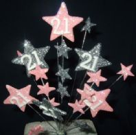 Star age 21st birthday cake topper decoration in pale pink and silver - free postage